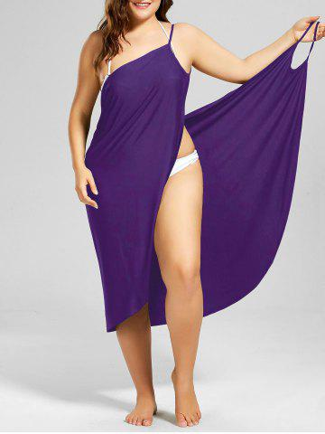 Beach Cover-up Plus Size Wrap Dress - PURPLE - 3XL