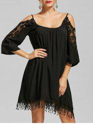 Lace Trim Cold Shoulder Mini Shift Dress - BLACK XL