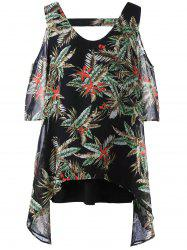 Leaf Print Plus Size Cold Shoulder Top