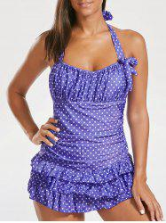 Halter Polka Dot Ruffles Backless Swimsuit