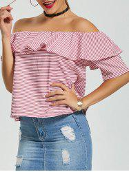 Ruffle Striped Off The Shoulder Top