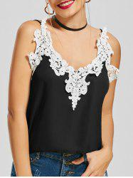 V Neck Crochet Insert Chiffon Cami Top