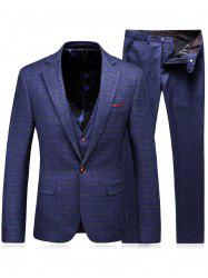 Single Breasted Checked Three-Piece Suit ( Blazer + Waistcoat + Pants ) - BLUE