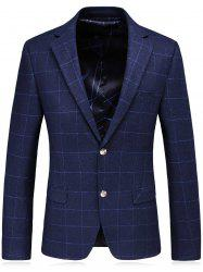 Single Breasted Lapel Plaid Slim Fit Blazer - BLUE