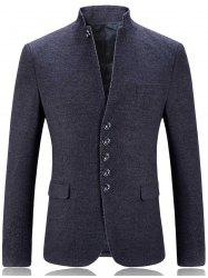 Single Breasted Stand Collar Slim Fit Blazer - GRAY