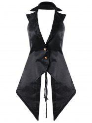 Open Back Lace Up Notched Collar Waistcoat