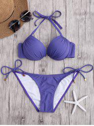 Halter Side Tie Push Up Bikini Set