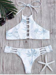 Ladder Cutout Palm Trees Print Bikini Set