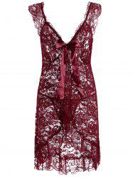 Plunging Neck Lace See Thru Plus Size Babydoll -