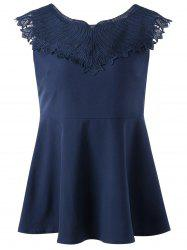 Lace Applique Sleeveless Peplum Top