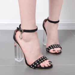 Rivets Clear Heel Sandals