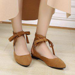 Suede Leg Tie Up Flat Shoes