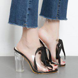 Tie Up Transparent Plastic Slippers - BLACK