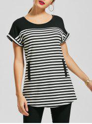 Casual Short Sleeve Striped Tunic Top