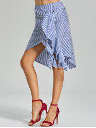 Belted Striped Asymmetric Skirt