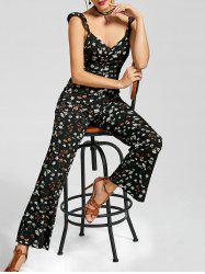 V Neck Tiny Floral Boot Cut Jumpsuit