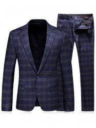 One Button Lapel Tartan Blazer and Pants Twinset - BLUE