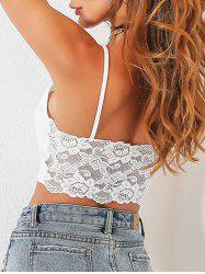 Lace Insert Backless Cami  Top - WHITE