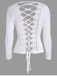 Criss Cross Lace Back Long Sleeve T-Shirt