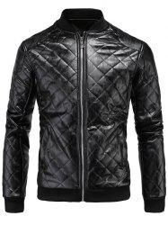 Rhombus Zip Up PU Bomber Jacket -