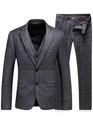 Single Breasted Plaid Three-Piece Suit ( Blazer + Waistcoat + Pants )