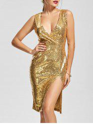 Front Slit Plunging Neck Bodycon Sequin Dress