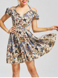 Floral Halter Backless Fit and Flare Dress