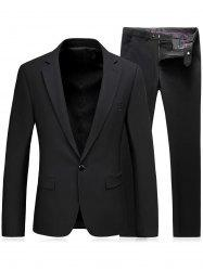 One Button Slim Fit Lapel Blazer and Pants Twinset - BLACK