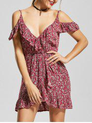 Ruffle Tiny Floral Cold Shoulder Mini Dress - RED