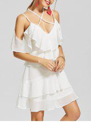 Cold Shoulder Layered Chiffon Mini Dress