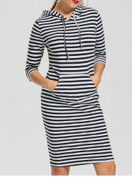 Striped Kangaroo Pocket Hoodie Dress