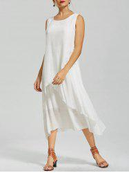 Flouce Casual Flowy Tea Length Dress - WHITE