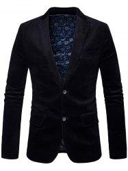Elbow Patch Single Breasted Corduroy Blazer - BLACK