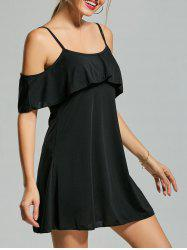 Cold Shoulder Shift Mini Dress - BLACK