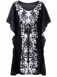 Bandana Floral Plus Size Butterfly Sleeve Dress