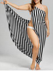 Vertical Stripe Plus Size Cover Up Maxi Dress