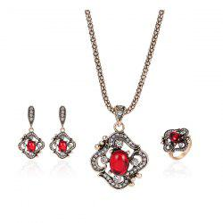 Faux Ruby Necklace Ring and Earrings Set