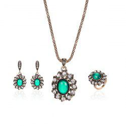 Faux Emerald Oval Necklace Earrings with Ring Set