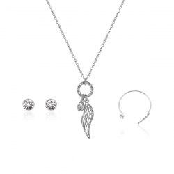 Angel Wing Necklace Earrings with Bracelet Set