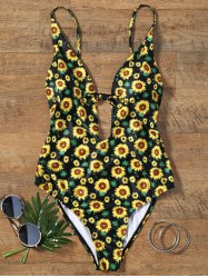 Sunflower Print Plunging Neckline Backless Swimsuit - COLORMIX