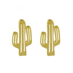 Metal Alloy Cactus Stud Earrings -