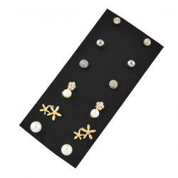 Ensemble boucles d'oreille strass Faux Pearl Flower Stud Earring - Multicolore