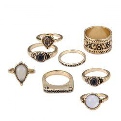 Faux Gemstone Teardrop Gypsy Ring Set - GOLDEN