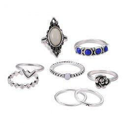 Artificial Opal Oval Flower Ring Set - SILVER