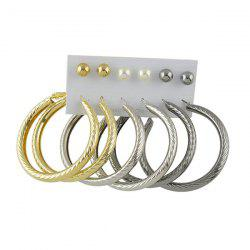Artificial Pearl Circle Hoop Earring Set