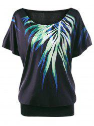 Leaf Printed Cold Shoulder Plus Size T-shirt - BLACK 4XL