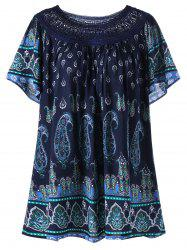 Plus Size Lace Trim Bohemian Tribal Print Top - DEEP BLUE