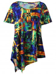 Plus Size Multi All-printed Long Asymmetric T-shirt - COLORMIX 5XL