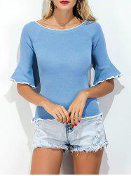 Boat Neck Bell Sleeve Knit Tee