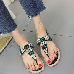 Flat Heel Rhinestones Belt Buckle Sandals